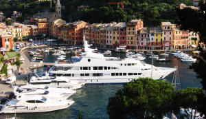 Superyachts-including-Lady-Lola-in-Portofino-Harbour-in-Italy