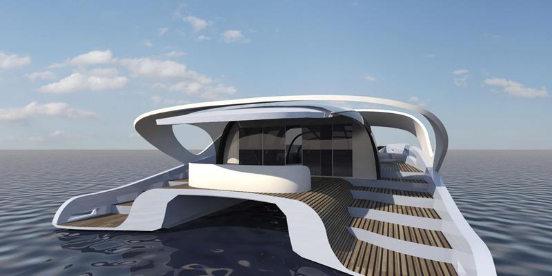 Luxury yacht : luxury flybridge motor-yacht (catamaran)