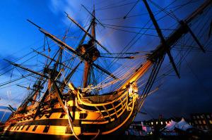 HMS Victory at dusk.