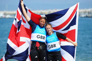 Hannah Mills (R) and Saskia Clark (L) of Great Britain