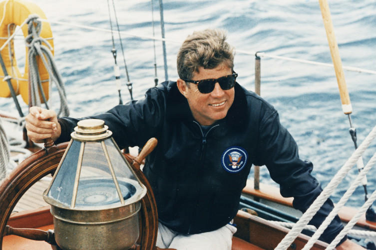 President_Vacations_in_Maine._At_the_wheel_of_the_US_Coast_Guard_Yacht_-Manitou-._Boothbay_Harbor,_ME._-_NARA_-_194210