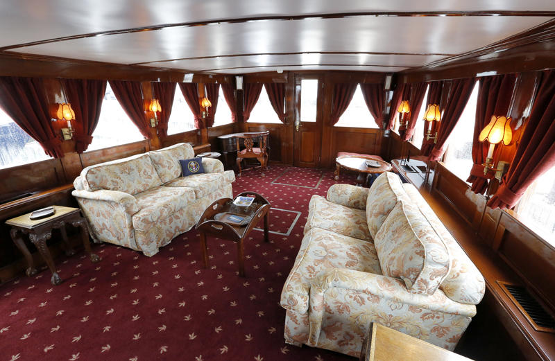 Salon on the former presidential yacht, Honey Fitz, is seen as it is docked in West Palm Beach