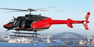 Bell 407GX demostrator, N407CE, over Sydney Harbour.