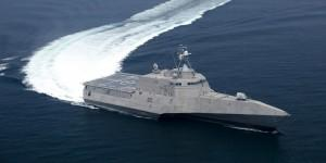090712-N-0000G-001 GULF OF MEXICO (July 12, 2009) The littoral combat ship Independence (LCS 2) underway during builder's trials. Builder's trials are the first opportunity for the shipbuilder and the U.S. Navy to operate the ship underway, and provide an opportunity to test and correct issues before acceptance trials. (Photo courtesy Dennis Griggs General Dynamics/Released)