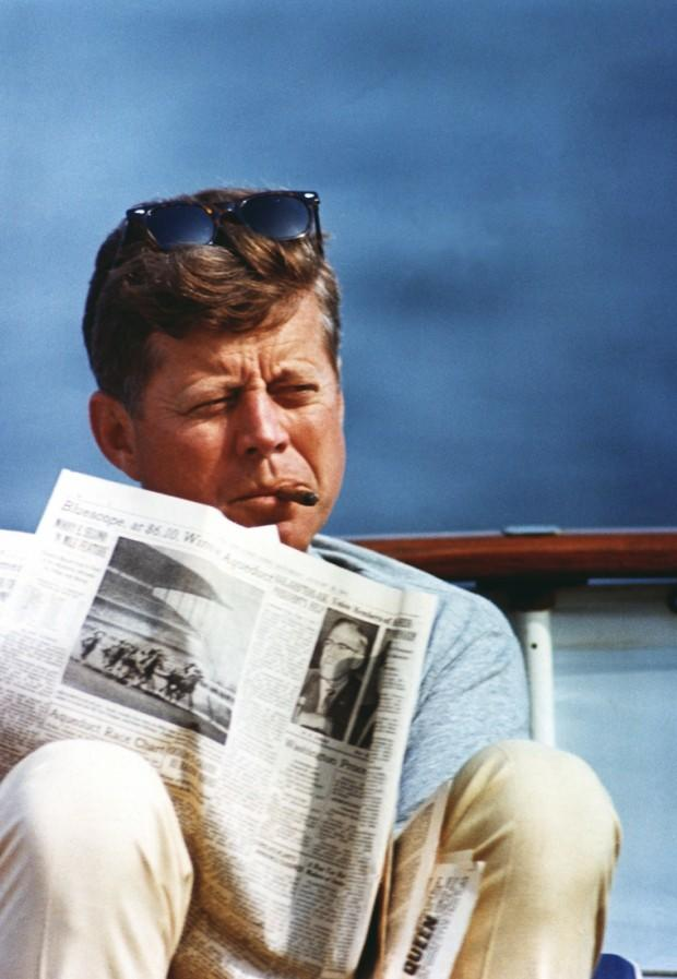 "ST-C283-48-63 31 August 1963 President Kennedy aboard the ""Honey Fitz"", off Hyannis Port, Massachusetts. Photograph by Cecil Stoughton, White House in the John F. Kennedy Presidential Library and Museum, Boston."