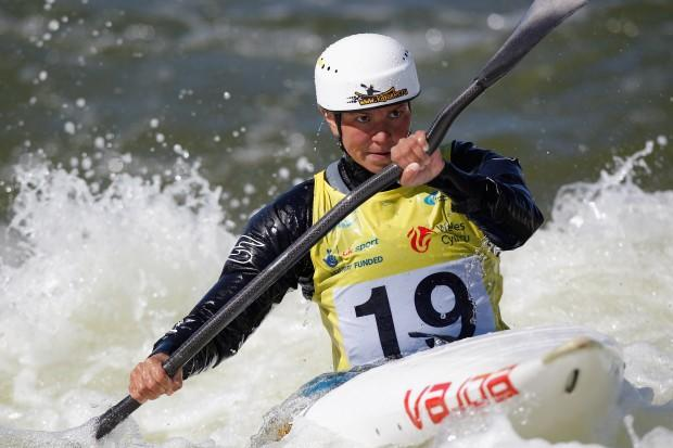 CARDIFF, WALES - JUNE 09: Marta Kharitonova of Russia competes in the Women's K1 semi final during the ICF Canoe Slalom World Cup at Cardiff International White Water on June 9, 2012 in Cardiff, Wales. (Photo by Harry Engels/Getty Images)