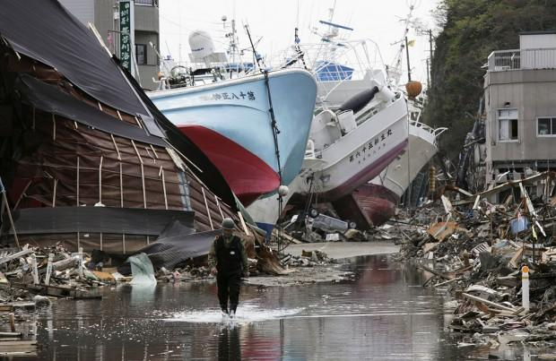epa05201168 (30/39) (FILE) A file picture shows fishing vessels washed ashore in tsunami and fire-devastated Shishiori district of fishery port city Kesennuma, Miyagi Prefecture, northern Japan, 28 April 2011. March 11, 2016 marks the fifth  anniversary of the 9.0-magnitude earthquake and subsequent tsunami that devastated northeastern Japan and triggered a nuclear disaster at the Fukushima Daiichi Nuclear Power Plant.  EPA/KIMIMASA MAYAMA PLEASE REFER TO ADVISORY NOTICE (epa05201138) FOR FULL PACKAGE TEXT