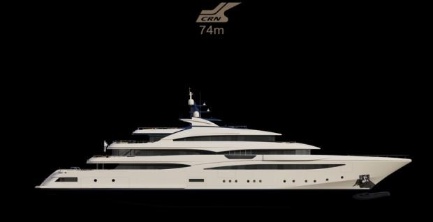Rendering of the 74m mega yacht CRN 131