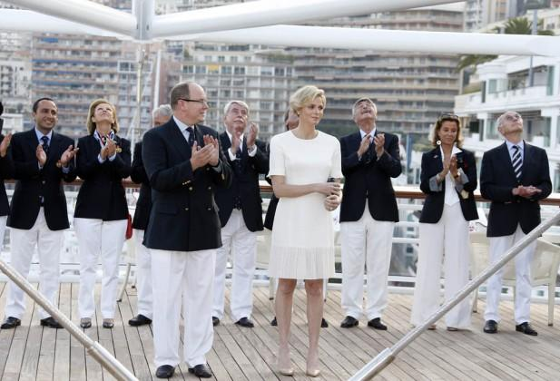 Prince Albert II of Monaco and Princess Charlene take part tin the inauguration of the new Yacht Club of Monaco, on June 20, 2014 in Monaco. AFP PHOTO / VALERY HACHE        (Photo credit should read VALERY HACHE/AFP/Getty Images)